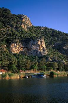 Dalyan river and tombs in rock-face above
