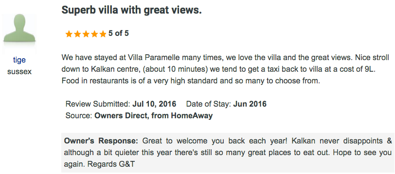 Screen grab from Owners Direct of guest review