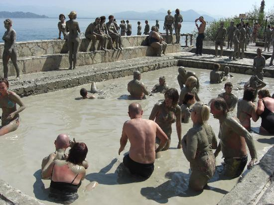 People enjoying mud baths in Dalyan