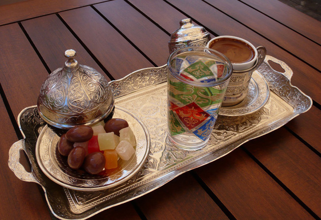 Traditional Turkish coffee on silver tray
