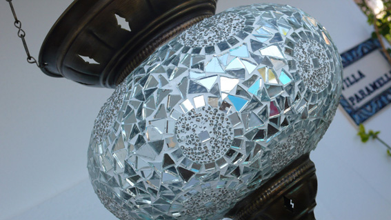 Traditional Turkish lantern sparkles with mirrors