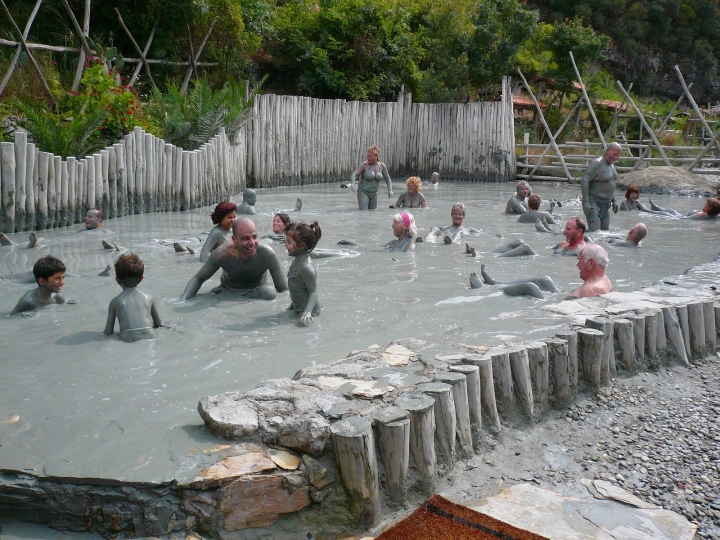 Families in the mud baths at Dalyan