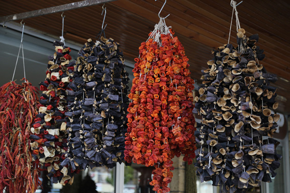 Dried aubergine, peppers and tomatoes in Konya market