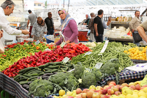 Colourful fruit and vegetables at Turkish market