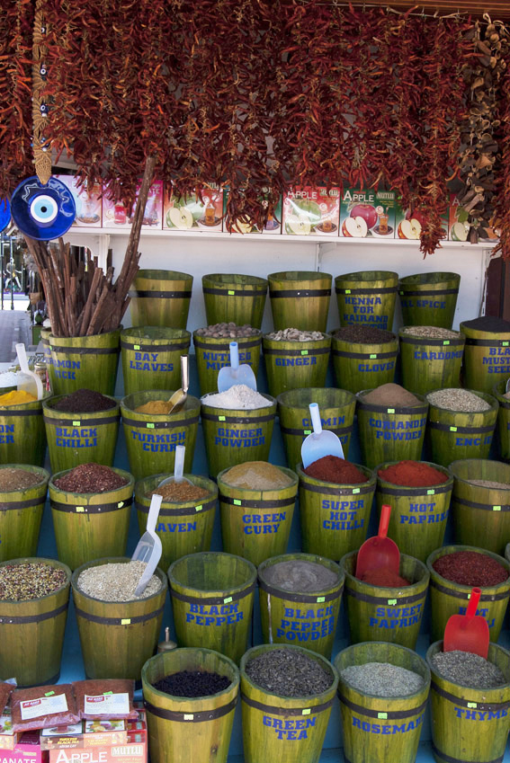 Buckets of fresh spices at Fethiye Market