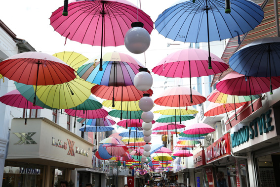 Colourful umbrellas provide shade in Fethiye street in summer