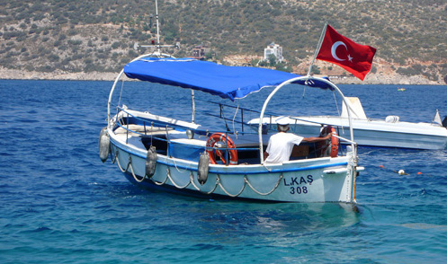 Cross the Kalkan harbour to Parara Prince resort by small boat