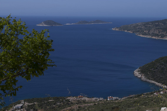 Stunning views of sea and islands from above Kalkan, Turkey