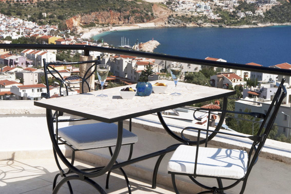 Private roof terrace with sweeping views of Kalkan harbour