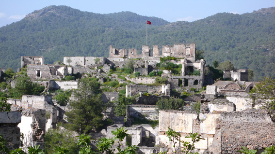 Ruins of deserted Greek town of Kayakoy