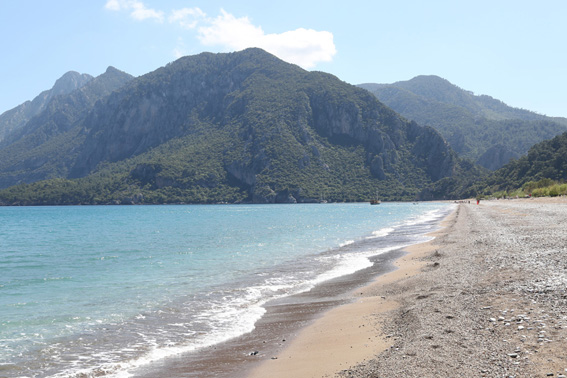 Beautiful long stretch of beach from Cirali to Olympos