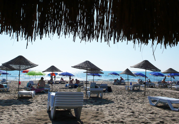 Sun loungers and umbrellas provide shade and comfort at Patara beach