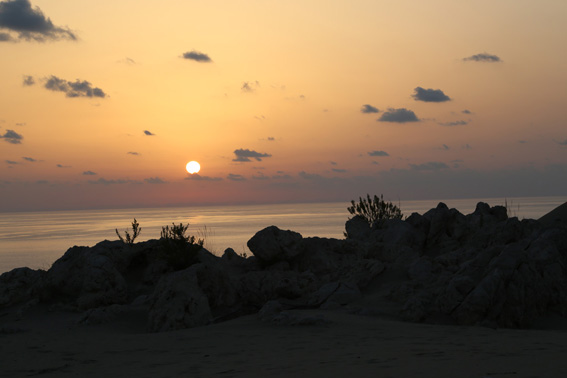 Sunset over the sand dunes at Patara