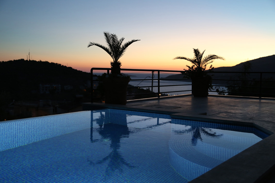 Pool and view of Kalamar at sunset