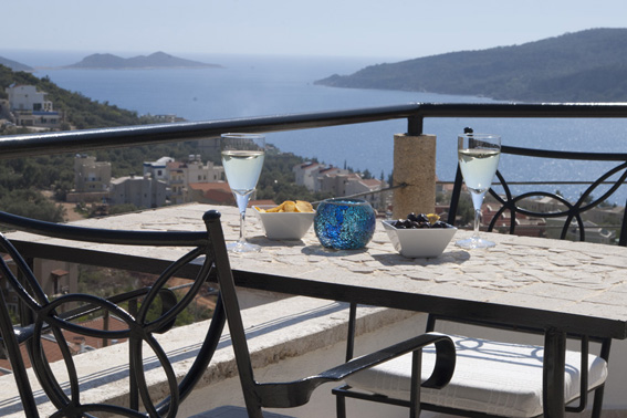 Views of Kalamar bay, and Mouse and Snake Islands, from roof terrace table