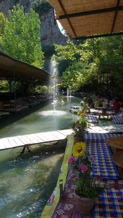 Restaurants by cool water at Saklikent Gorge
