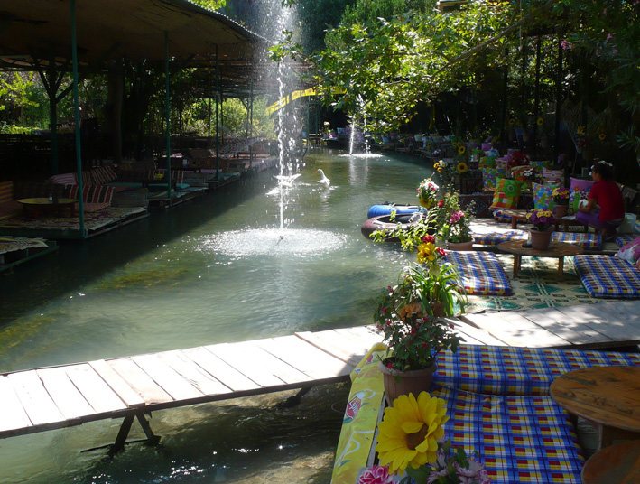 Saklikent Gorge restaurant by stream