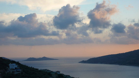 Sunset view of islands from Villa Paramelle