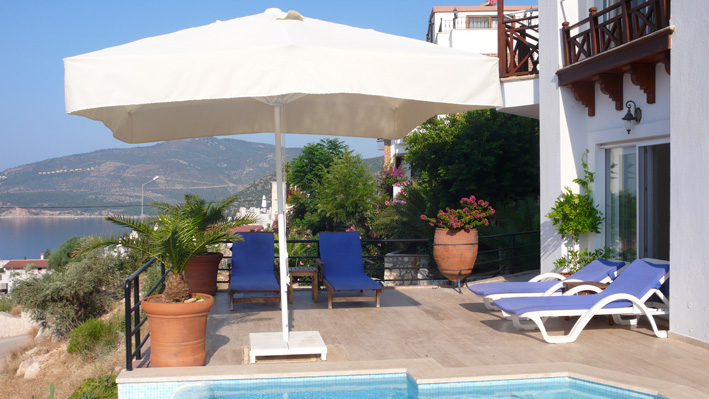 Private terrace with shade and views of Kalamar bay, Kalkan villa rental