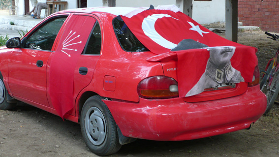 Elections in Kalkan Turkey and car drapped with Turkish flag