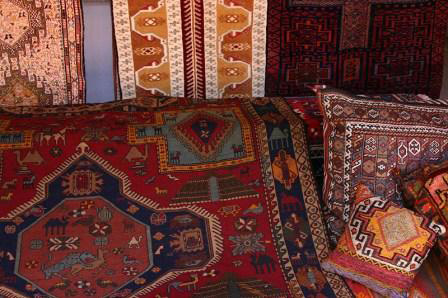 Turkish carpets and kilims at stall in Fethiye