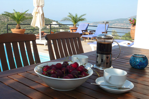 Breakfast on private terrace with sea views at holday villa rental