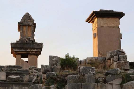 Tombs at Xanthos at sunset